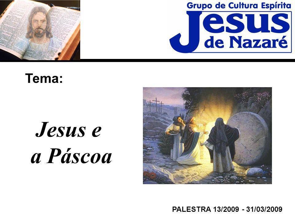 Tema: PALESTRA 13/2009 - 31/03/2009 Jesus e a Páscoa
