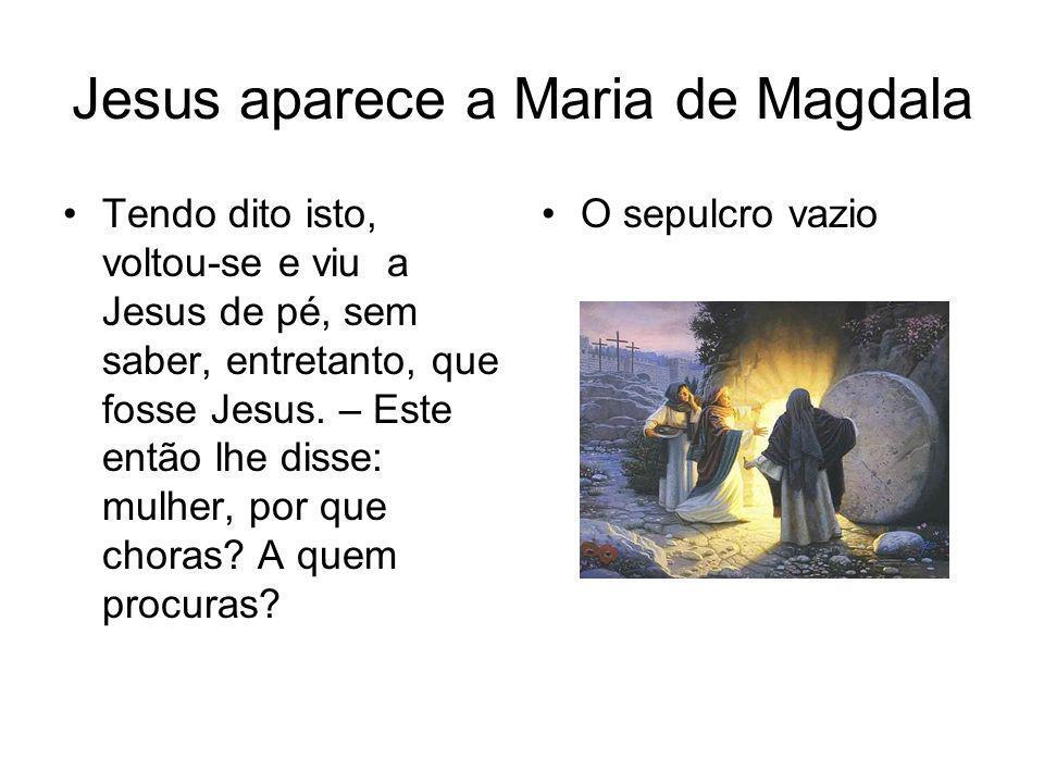Jesus aparece a Maria de Magdala Ela, pensando fosse o jardineiro, lhe disse: Senhor, se foste tu quem o tirou, dize-me onde o puseste e eu o levarei.