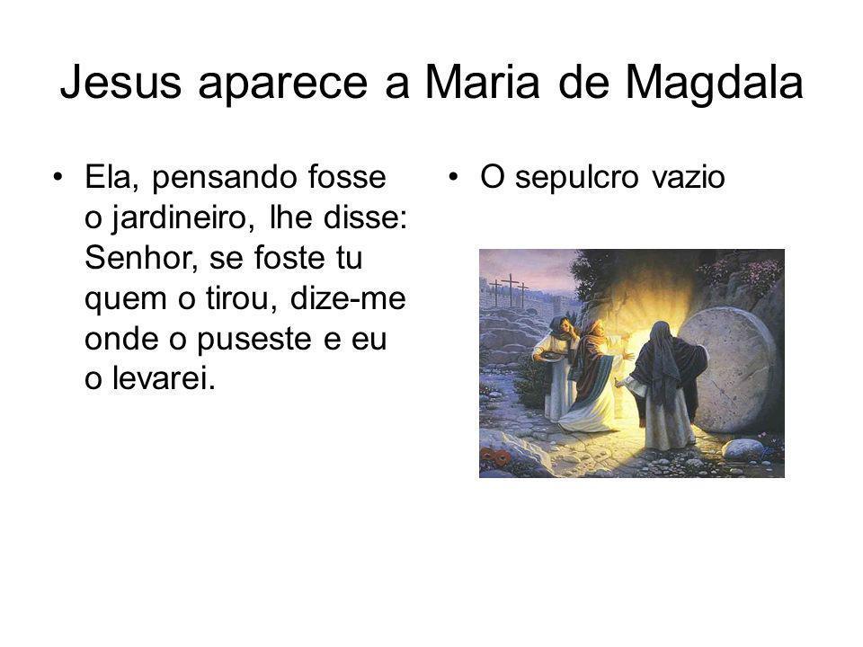 Jesus aparece a Maria de Magdala Disse-lhe Jesus: Maria.