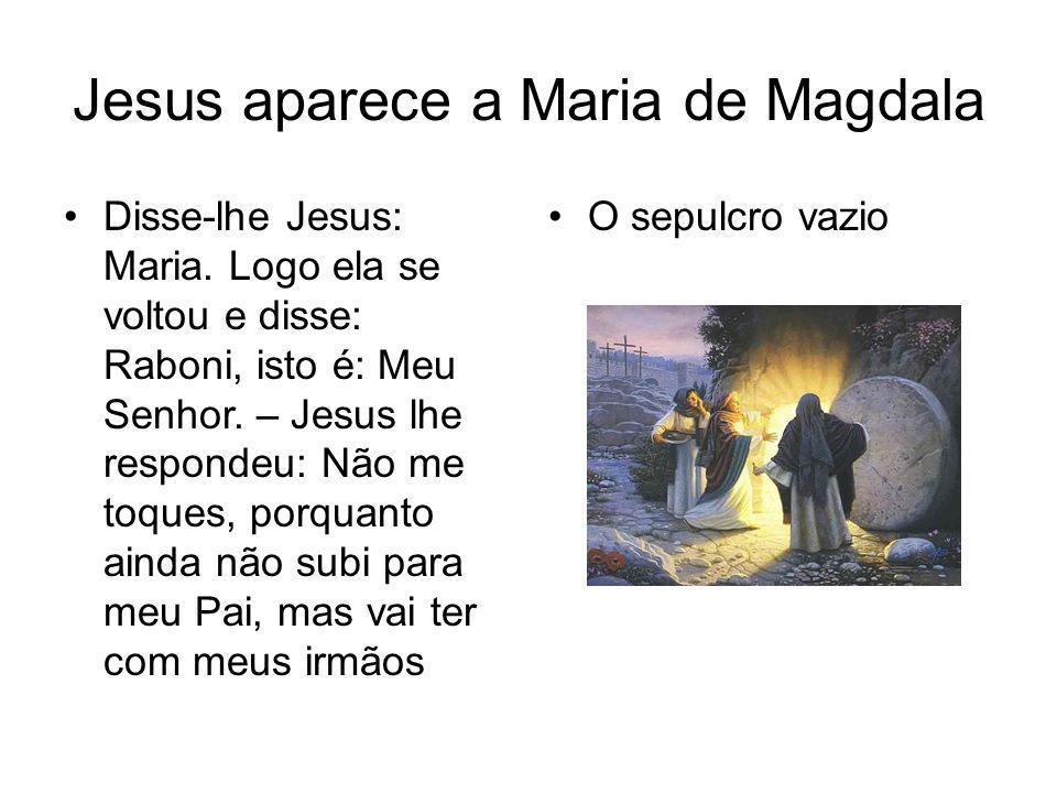 Jesus aparece a Maria de Magdala Disse-lhe Jesus: Maria. Logo ela se voltou e disse: Raboni, isto é: Meu Senhor. – Jesus lhe respondeu: Não me toques,