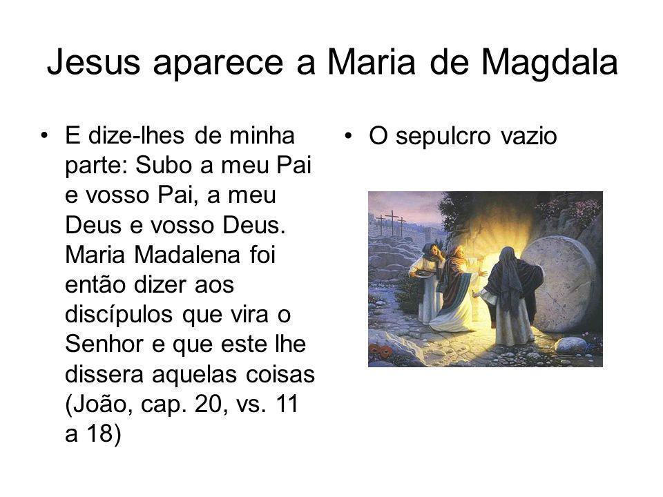 Jesus aparece a Maria de Magdala E dize-lhes de minha parte: Subo a meu Pai e vosso Pai, a meu Deus e vosso Deus. Maria Madalena foi então dizer aos d