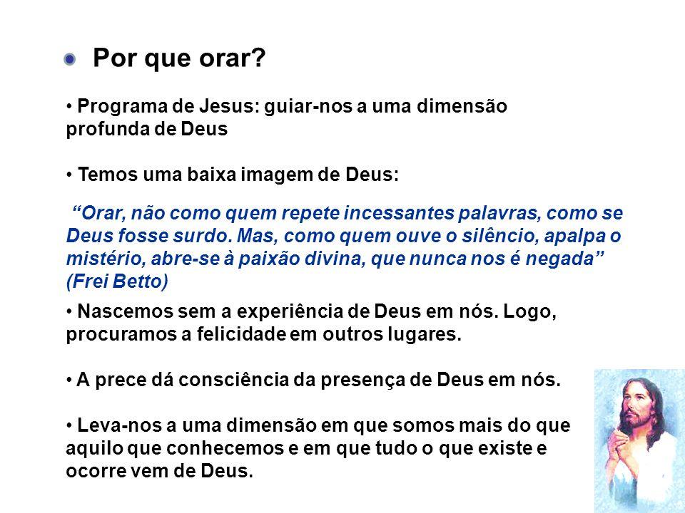 Programa de Jesus: guiar-nos a uma dimensão profunda de Deus Temos uma baixa imagem de Deus: Nascemos sem a experiência de Deus em nós.