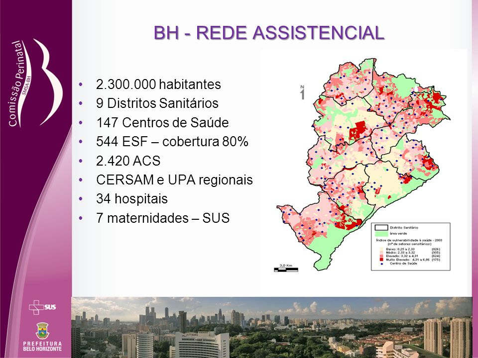 BH - REDE ASSISTENCIAL 2.300.000 habitantes 9 Distritos Sanitários 147 Centros de Saúde 544 ESF – cobertura 80% 2.420 ACS CERSAM e UPA regionais 34 ho