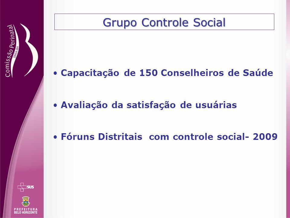 Grupo Controle Social Capacitação de 150 Conselheiros de Saúde Avaliação da satisfação de usuárias Fóruns Distritais com controle social- 2009
