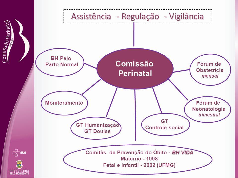 Assistência - Regulação - Vigilância Comissão Perinatal Fórum de Obstetrícia mensal Fórum de Neonatologia trimestral BH VIDA Comitês de Prevenção do Ó