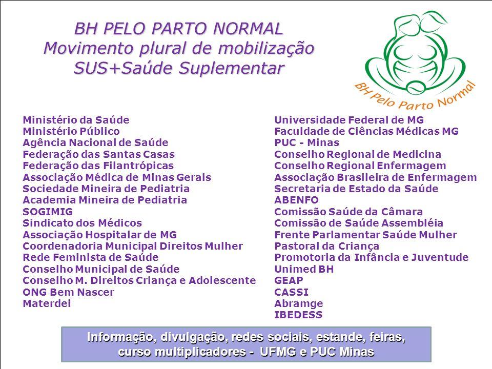 BH PELO PARTO NORMAL Movimento plural de mobilização SUS+Saúde Suplementar Ministério da Saúde Ministério Público Agência Nacional de Saúde Federação
