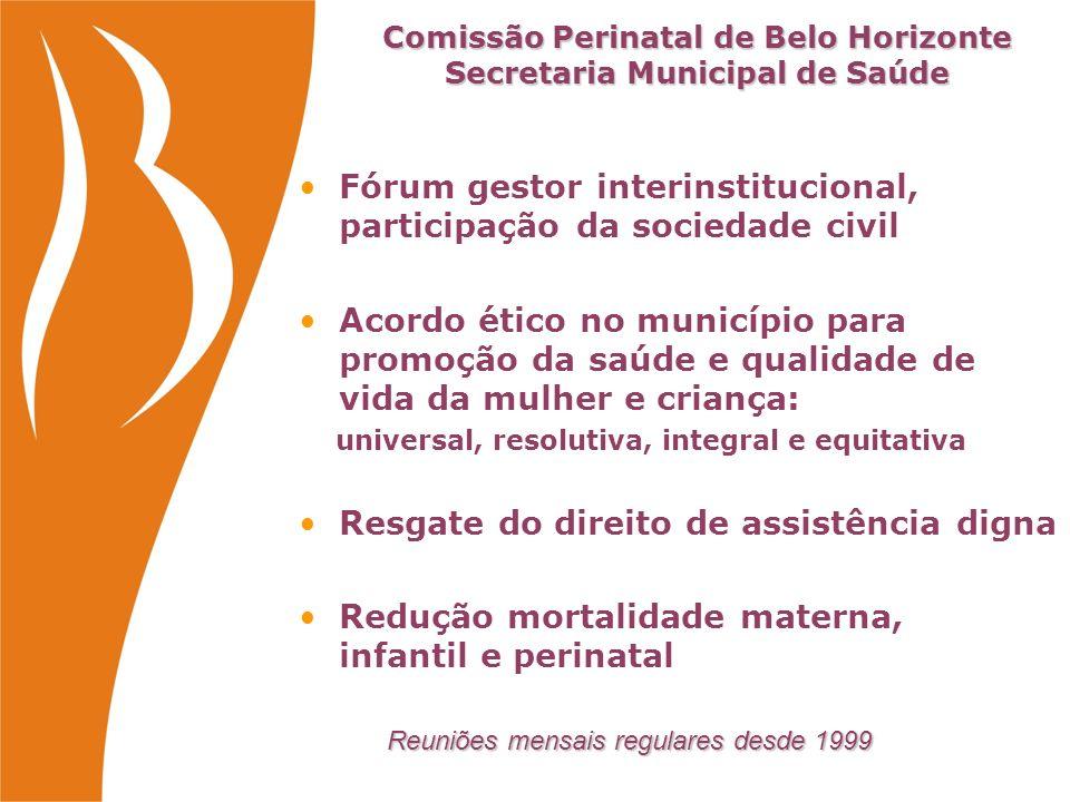 Comissão Perinatal - Secretaria Municipal de Saúde BH Comissão Perinatal - Secretaria Municipal de Saúde BH Saúde da Mulher, Criança, DST/AIDS Epidemiologia e Informação Controle e Avaliação Ambulatorial e Hospitalar Auditoria Vigilância Sanitária Maternidades do SUS/BH Associação Mineira de Hospitais Sociedade Mineira Pediatria Ass.