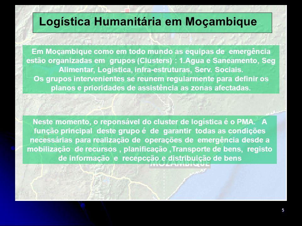 5 Em Moçambique como em todo mundo as equipas de emergência estão organizadas em grupos (Clusters) : 1.Agua e Saneamento, Seg Alimentar, Logistica, infra-estruturas, Serv.