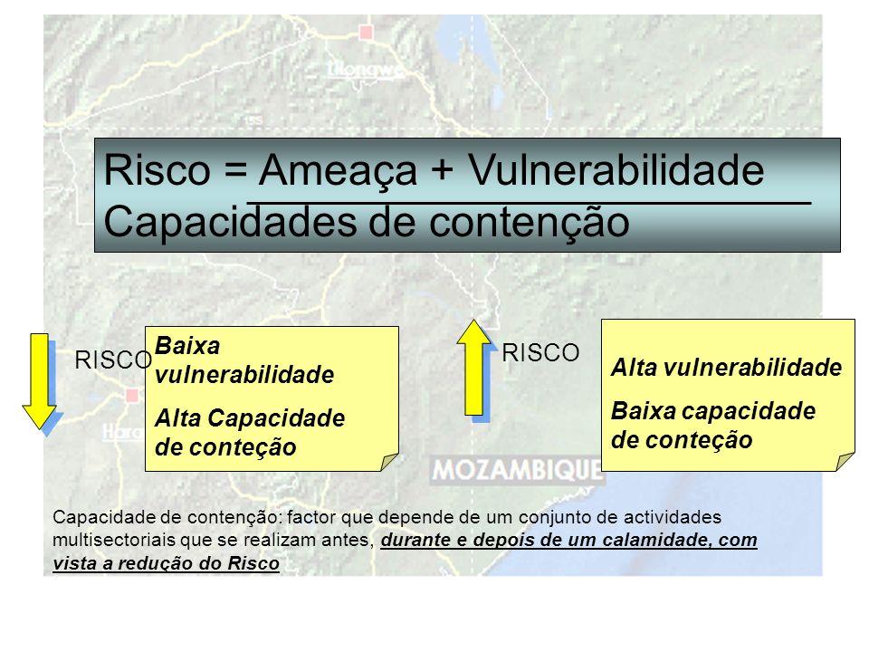 Risco = Ameaça + Vulnerabilidade Capacidades de contenção Capacidade de contenção: factor que depende de um conjunto de actividades multisectoriais que se realizam antes, durante e depois de um calamidade, com vista a redução do Risco Baixa vulnerabilidade Alta Capacidade de conteção RISCO Alta vulnerabilidade Baixa capacidade de conteção RISCO