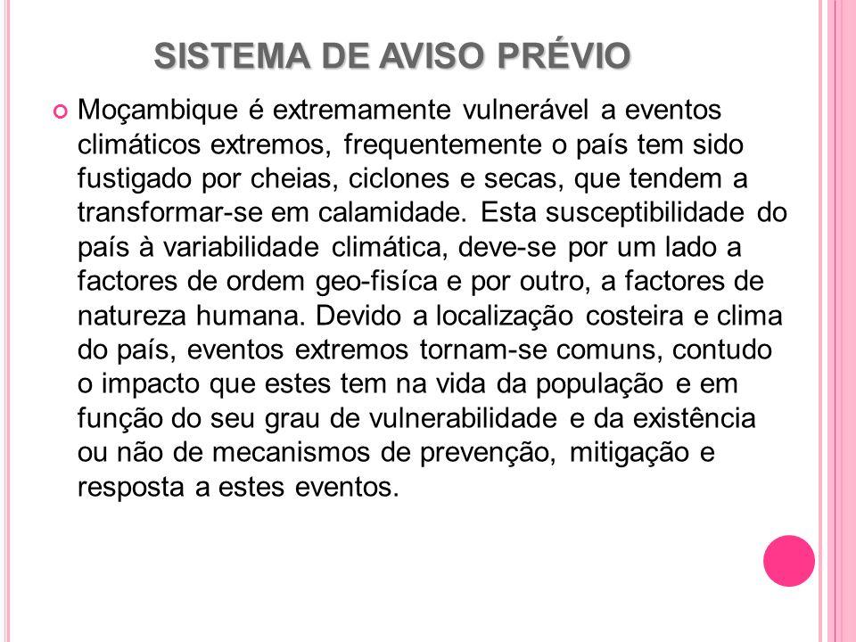 SISTEMA DE AVISO PRÉVIO Moçambique é extremamente vulnerável a eventos climáticos extremos, frequentemente o país tem sido fustigado por cheias, ciclo
