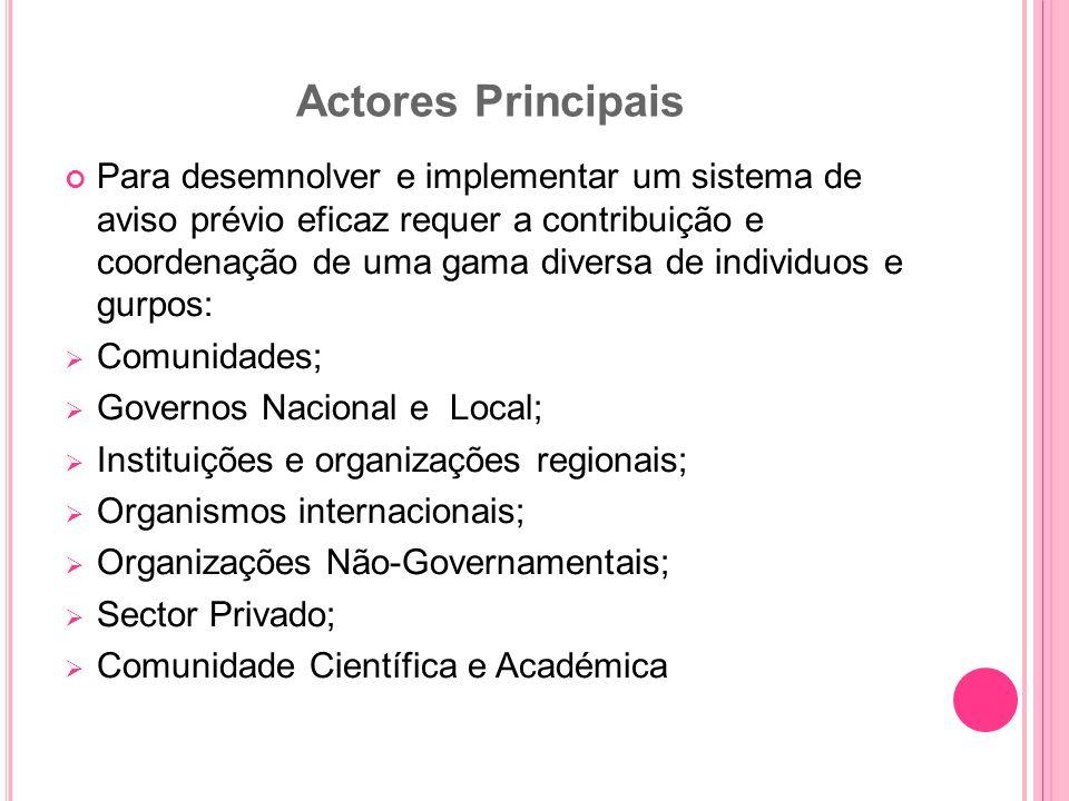 Actores Principais Para desemnolver e implementar um sistema de aviso prévio eficaz requer a contribuição e coordenação de uma gama diversa de individ