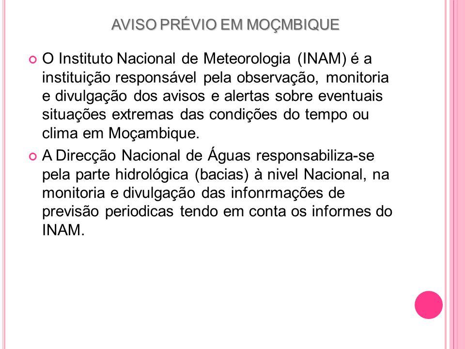 AVISO PRÉVIO EM MOÇMBIQUE O Instituto Nacional de Meteorologia (INAM) é a instituição responsável pela observação, monitoria e divulgação dos avisos e