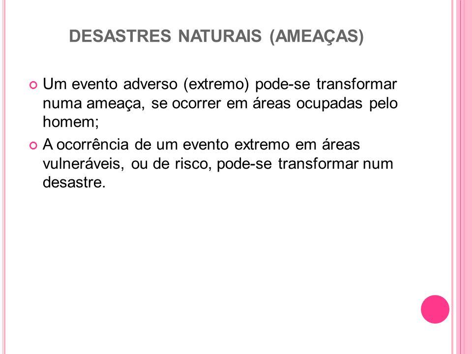 DESASTRES NATURAIS (AMEAÇAS) Um evento adverso (extremo) pode-se transformar numa ameaça, se ocorrer em áreas ocupadas pelo homem; A ocorrência de um