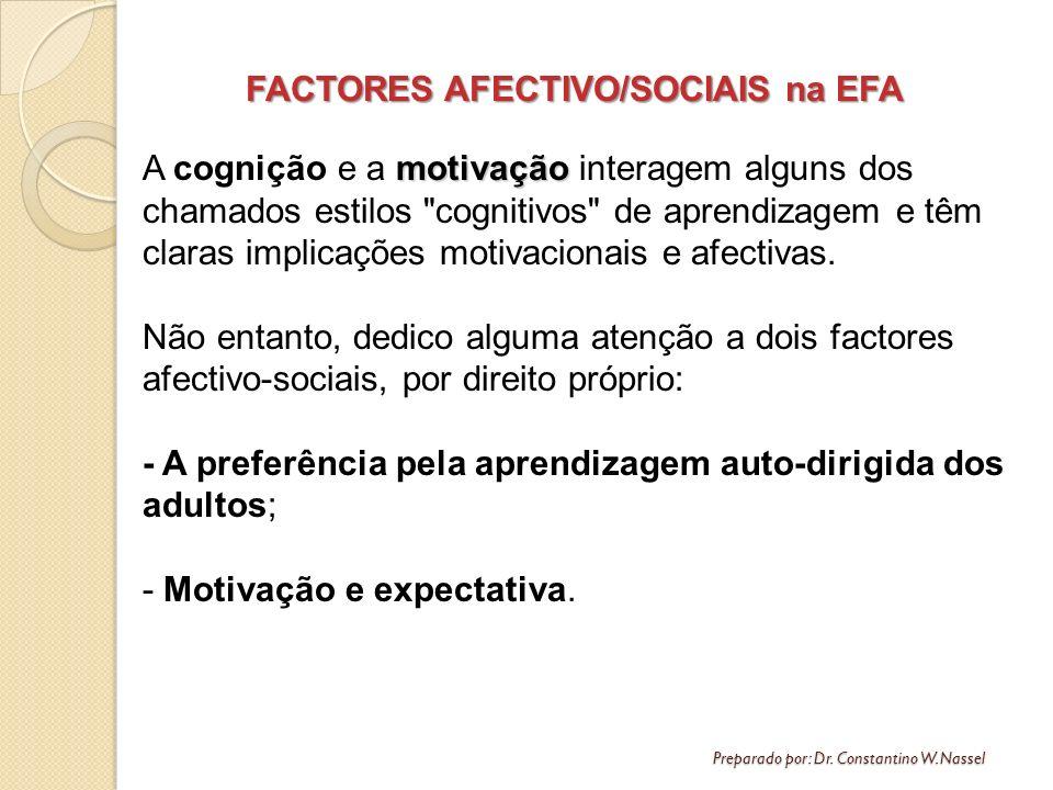 Preparado por: Dr. Constantino W. Nassel FACTORES AFECTIVO/SOCIAIS na EFA motivação A cognição e a motivação interagem alguns dos chamados estilos