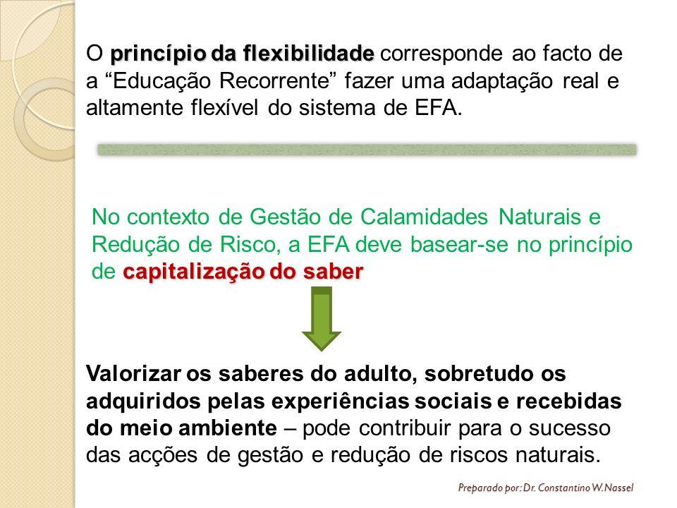 Preparado por: Dr. Constantino W. Nassel princípio da flexibilidade O princípio da flexibilidade corresponde ao facto de a Educação Recorrente fazer u