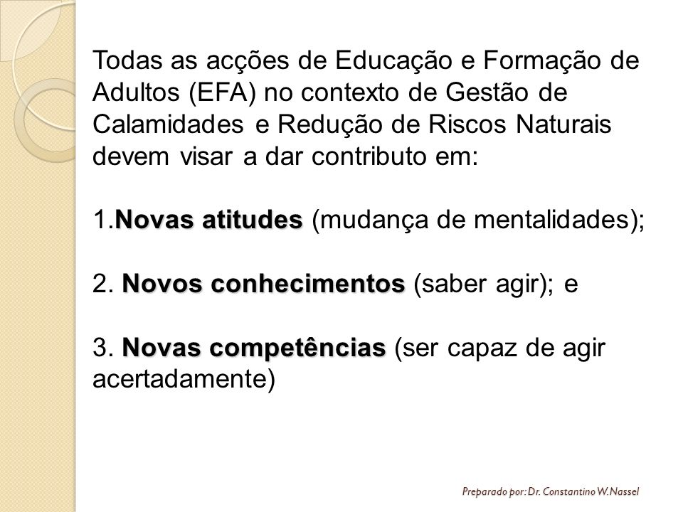 Preparado por: Dr. Constantino W. Nassel Todas as acções de Educação e Formação de Adultos (EFA) no contexto de Gestão de Calamidades e Redução de Ris