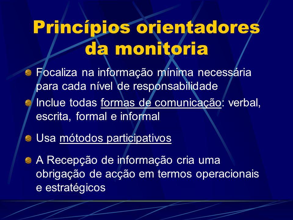 Princípios orientadores da monitoria Focaliza na informação mínima necessária para cada nível de responsabilidade Inclue todas formas de comunicação: