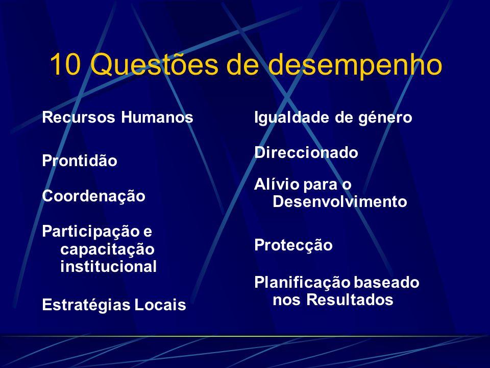 10 Questões de desempenho Recursos Humanos Prontidão Coordenação Participação e capacitação institucional Estratégias Locais Igualdade de género Direc
