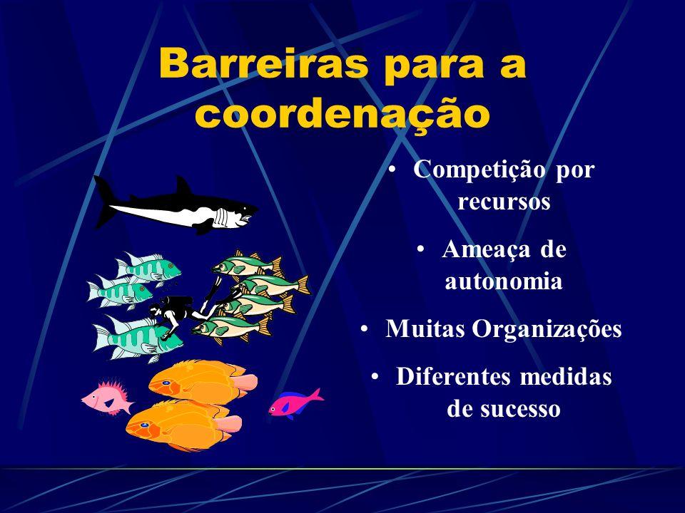 Barreiras para a coordenação Competição por recursos Ameaça de autonomia Muitas Organizações Diferentes medidas de sucesso