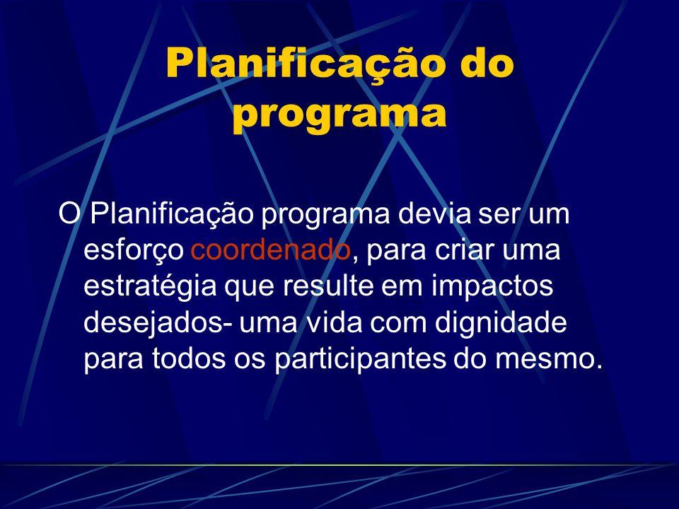 Planificação do programa O Planificação programa devia ser um esforço coordenado, para criar uma estratégia que resulte em impactos desejados- uma vid