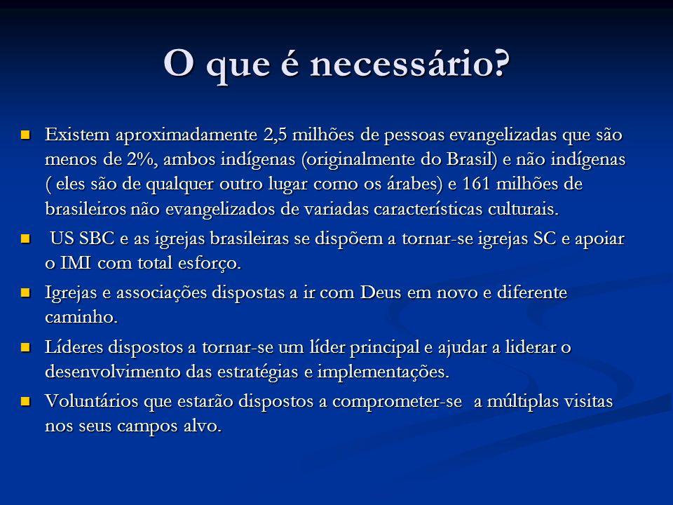 O que é necessário? Existem aproximadamente 2,5 milhões de pessoas evangelizadas que são menos de 2%, ambos indígenas (originalmente do Brasil) e não