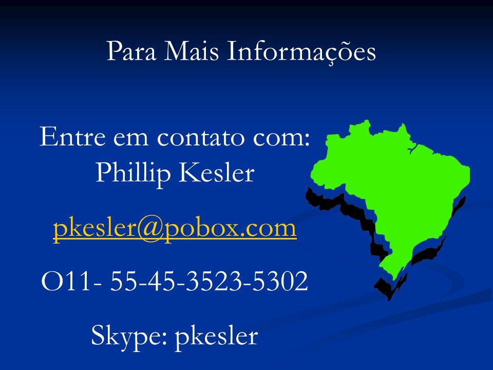 Para Mais Informações Entre em contato com: Phillip Kesler pkesler@pobox.com O11- 55-45-3523-5302 Skype: pkesler