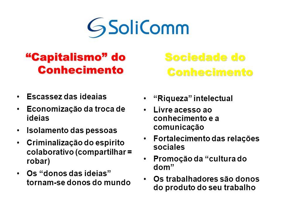 Capitalismo do Conhecimento Escassez das ideaias Economização da troca de ideias Isolamento das pessoas Criminalização do espirito colaborativo (compa