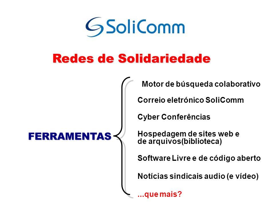 Motor de búsqueda colaborativo Correio eletrónico SoliComm Cyber Conferências Hospedagem de sites web e de arquivos(biblioteca) Software Livre e de có