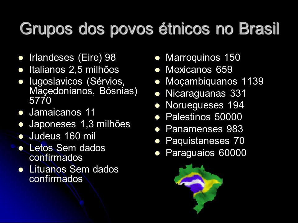 Grupos dos povos étnicos no Brasil Irlandeses (Eire) 98 Italianos 2,5 milhões Iugoslavicos (Sérvios, Maçedonianos, Bósnias) 5770 Jamaicanos 11 Japoneses 1,3 milhões Judeus 160 mil Letos Sem dados confirmados Lituanos Sem dados confirmados Marroquinos 150 Mexicanos 659 Moçambiquanos 1139 Nicaraguanas 331 Noruegueses 194 Palestinos 50000 Panamenses 983 Paquistaneses 70 Paraguaios 60000