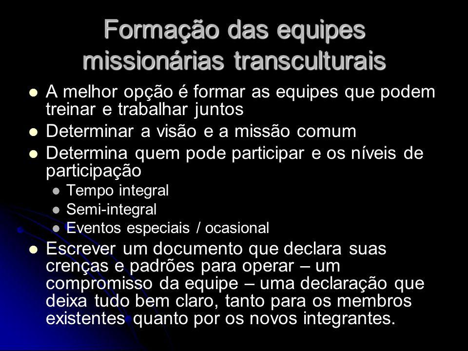 Formação das equipes missionárias transculturais A melhor opção é formar as equipes que podem treinar e trabalhar juntos Determinar a visão e a missão