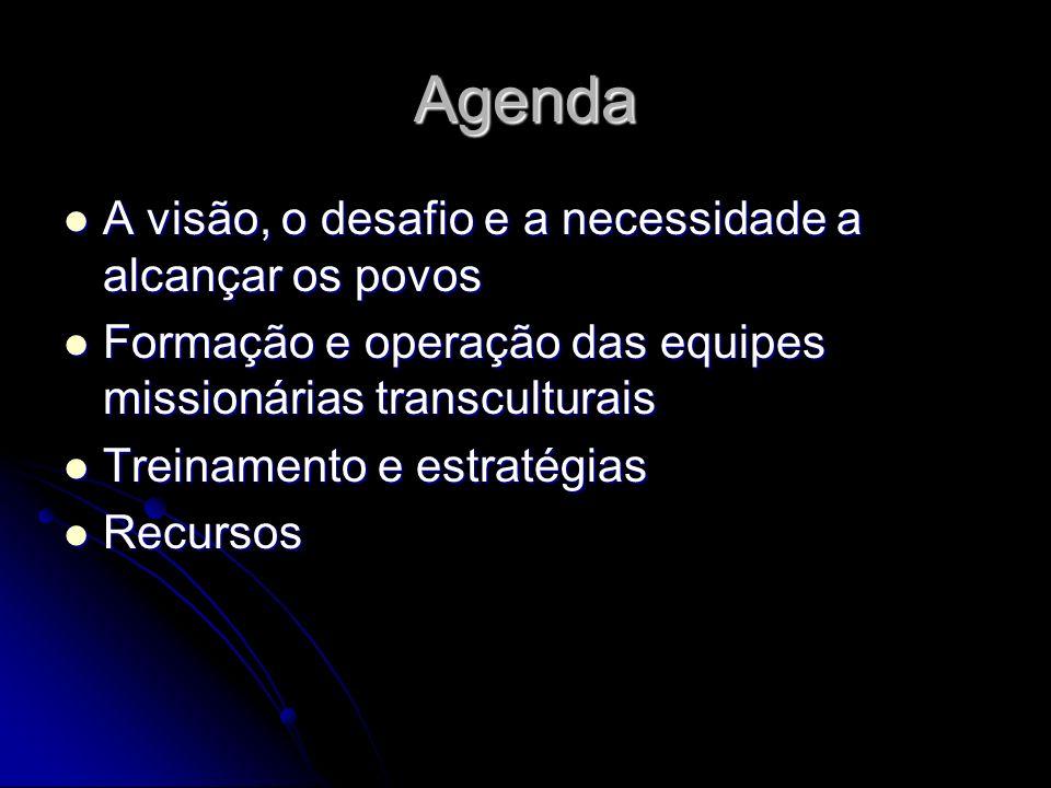 Agenda A visão, o desafio e a necessidade a alcançar os povos A visão, o desafio e a necessidade a alcançar os povos Formação e operação das equipes m