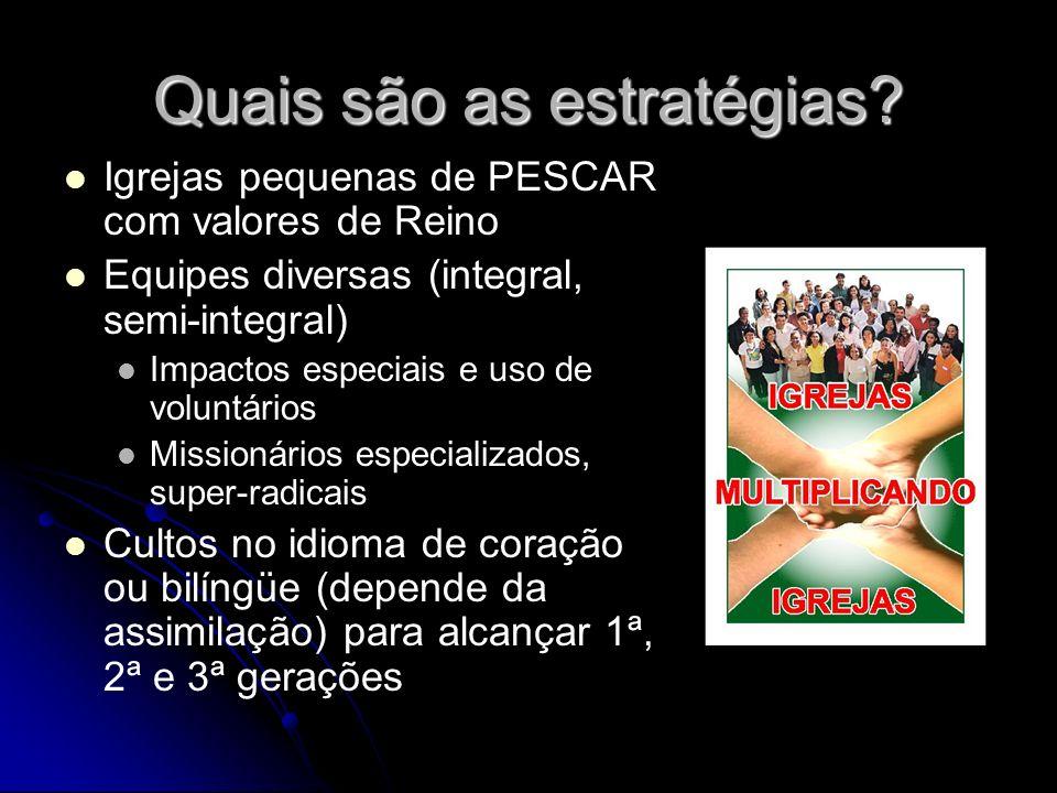 Quais são as estratégias? Igrejas pequenas de PESCAR com valores de Reino Equipes diversas (integral, semi-integral) Impactos especiais e uso de volun