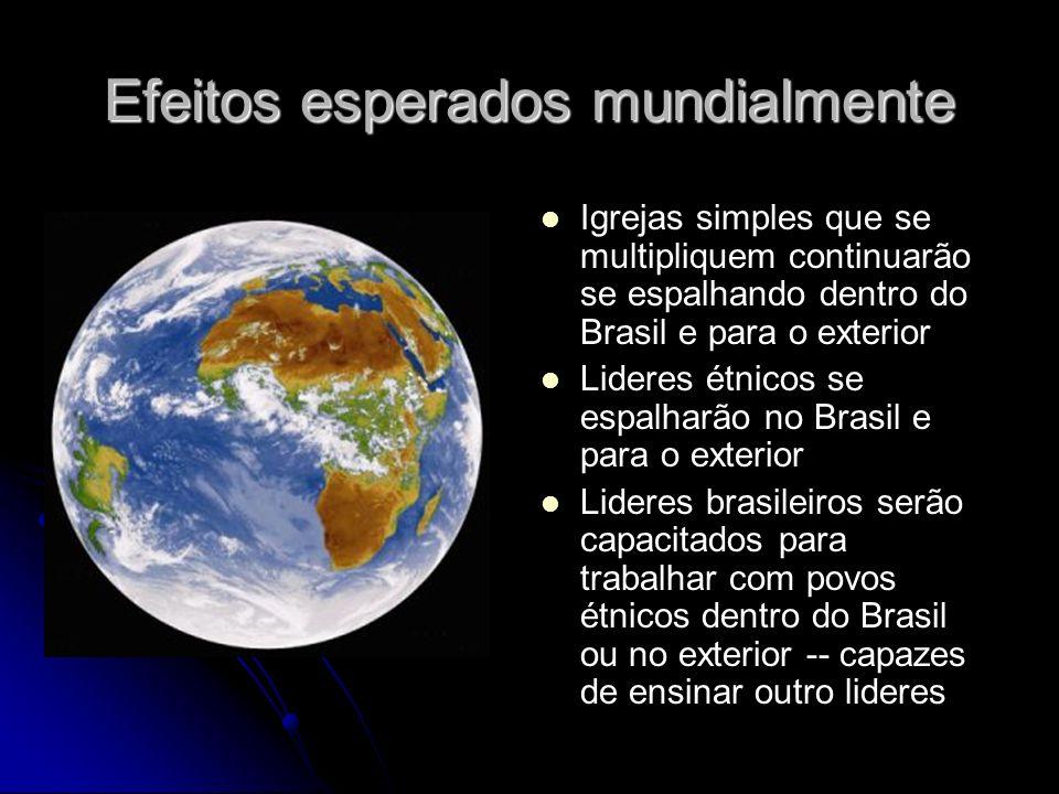 Efeitos esperados mundialmente Igrejas simples que se multipliquem continuarão se espalhando dentro do Brasil e para o exterior Lideres étnicos se espalharão no Brasil e para o exterior Lideres brasileiros serão capacitados para trabalhar com povos étnicos dentro do Brasil ou no exterior -- capazes de ensinar outro lideres
