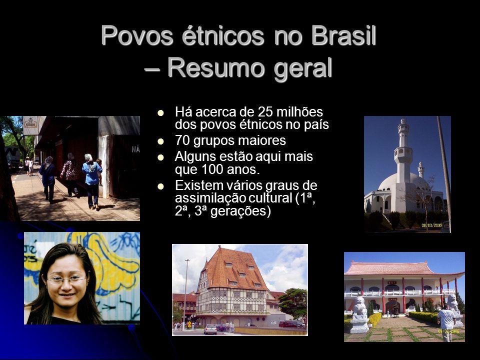 Povos étnicos no Brasil – Resumo geral Há acerca de 25 milhões dos povos étnicos no país 70 grupos maiores Alguns estão aqui mais que 100 anos. Existe