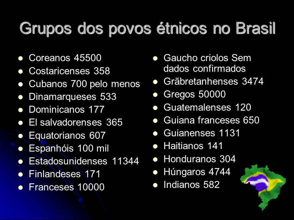 Grupos dos povos étnicos no Brasil Coreanos 45500 Costaricenses 358 Cubanos 700 pelo menos Dinamarqueses 533 Dominicanos 177 El salvadorenses 365 Equa