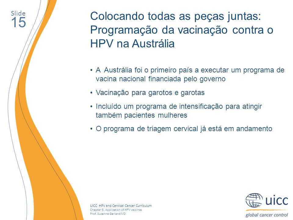 UICC HPV and Cervical Cancer Curriculum Chapter 5. Application of HPV vaccines Prof. Suzanne Garland MD Slide 15 Colocando todas as peças juntas: Prog