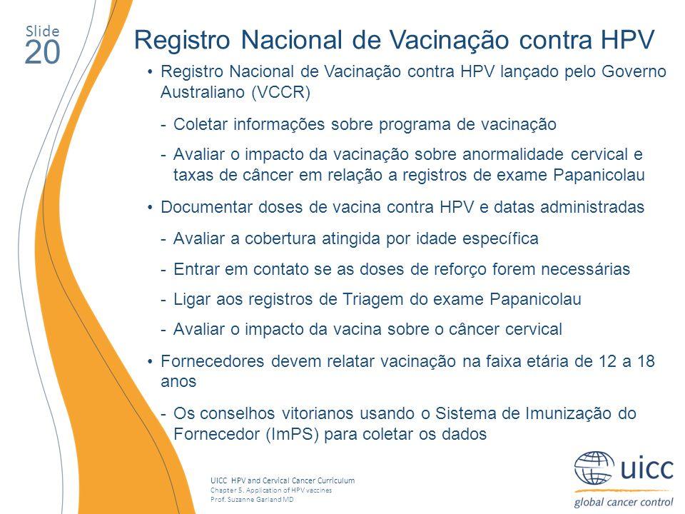 UICC HPV and Cervical Cancer Curriculum Chapter 5. Application of HPV vaccines Prof. Suzanne Garland MD Slide 20 Registro Nacional de Vacinação contra