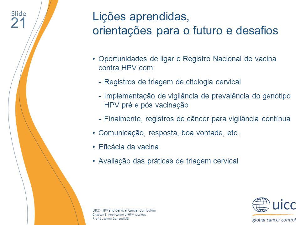 UICC HPV and Cervical Cancer Curriculum Chapter 5. Application of HPV vaccines Prof. Suzanne Garland MD Slide 21 Lições aprendidas, orientações para o