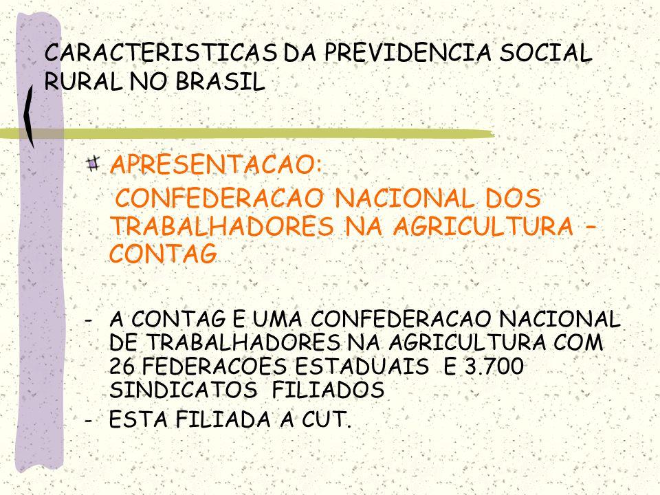 CARACTERISTICAS DA PREVIDENCIA SOCIAL RURAL NO BRASIL APRESENTACAO: CONFEDERACAO NACIONAL DOS TRABALHADORES NA AGRICULTURA – CONTAG -A CONTAG E UMA CO
