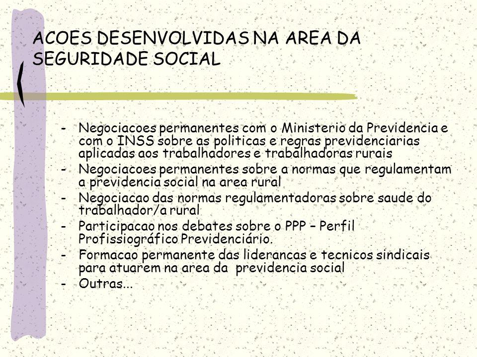 ACOES DESENVOLVIDAS NA AREA DA SEGURIDADE SOCIAL -Negociacoes permanentes com o Ministerio da Previdencia e com o INSS sobre as politicas e regras pre