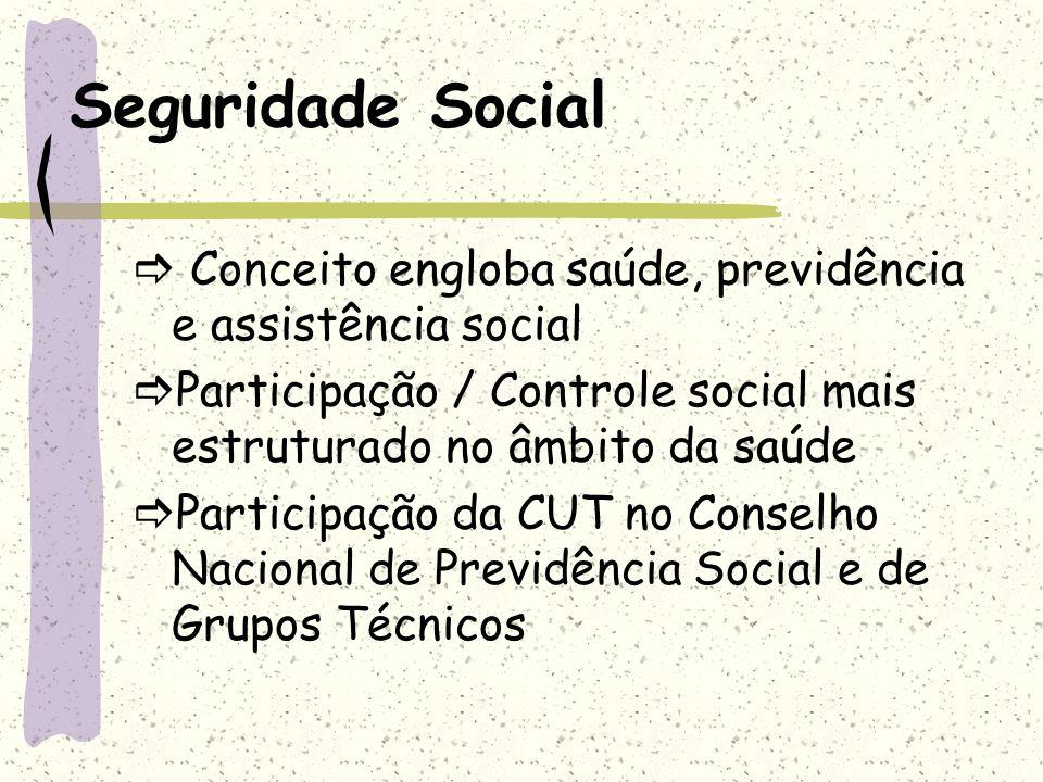 Seguridade Social Conceito engloba saúde, previdência e assistência social Participação / Controle social mais estruturado no âmbito da saúde Particip