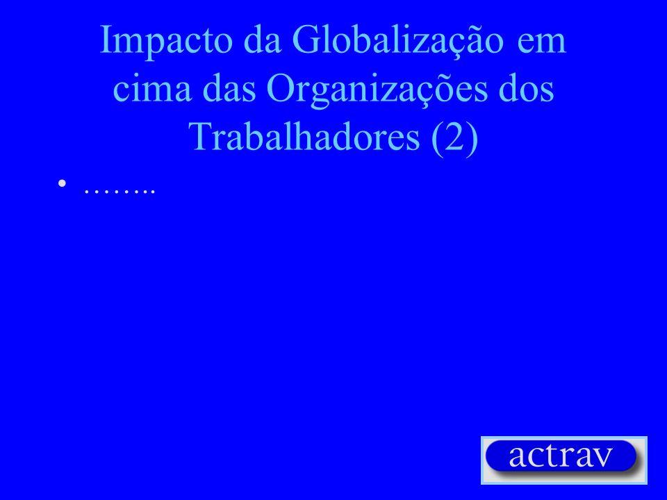 Impacto da Globalização em cima das Organizações dos Trabalhadores (2) ……..