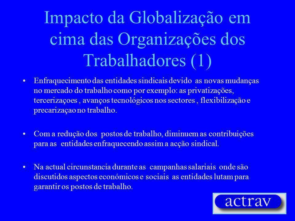 Impacto da Globalização em cima das Organizações dos Trabalhadores (1) Enfraquecimento das entidades sindicais devido as novas mudanças no mercado do trabalho como por exemplo: as privatizações, tercerizaçoes, avanços tecnológicos nos sectores, flexibilização e precarizaçao no trabalho.