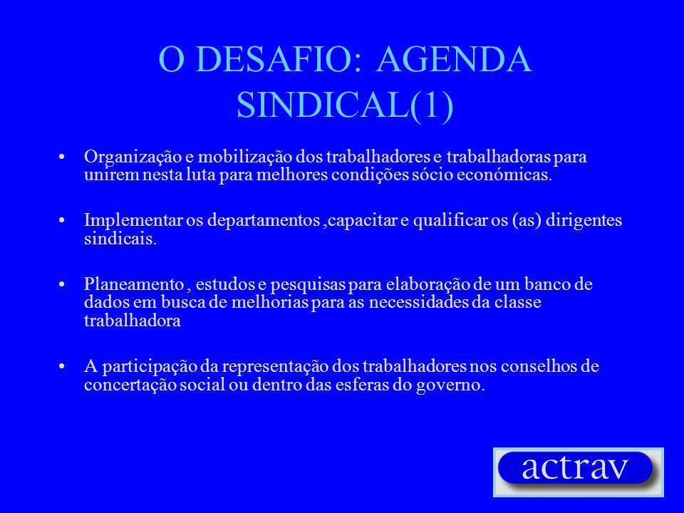 O DESAFIO: AGENDA SINDICAL(1) Organização e mobilização dos trabalhadores e trabalhadoras para unirem nesta luta para melhores condições sócio económicas.