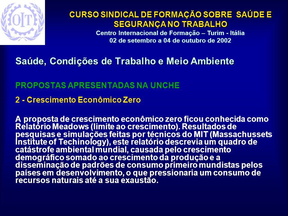 CURSO SINDICAL DE FORMAÇÃO SOBRE SAÚDE E SEGURANÇA NO TRABALHO Centro Internacional de Formação – Turim - Itália 02 de setembro a 04 de outubro de 2002 Saúde, Condições de Trabalho e Meio Ambiente PROPOSTAS APRESENTADAS NA UNCHE 2 - Crescimento Econômico Zero A proposta de crescimento econômico zero ficou conhecida como Relatório Meadows (limite ao crescimento).
