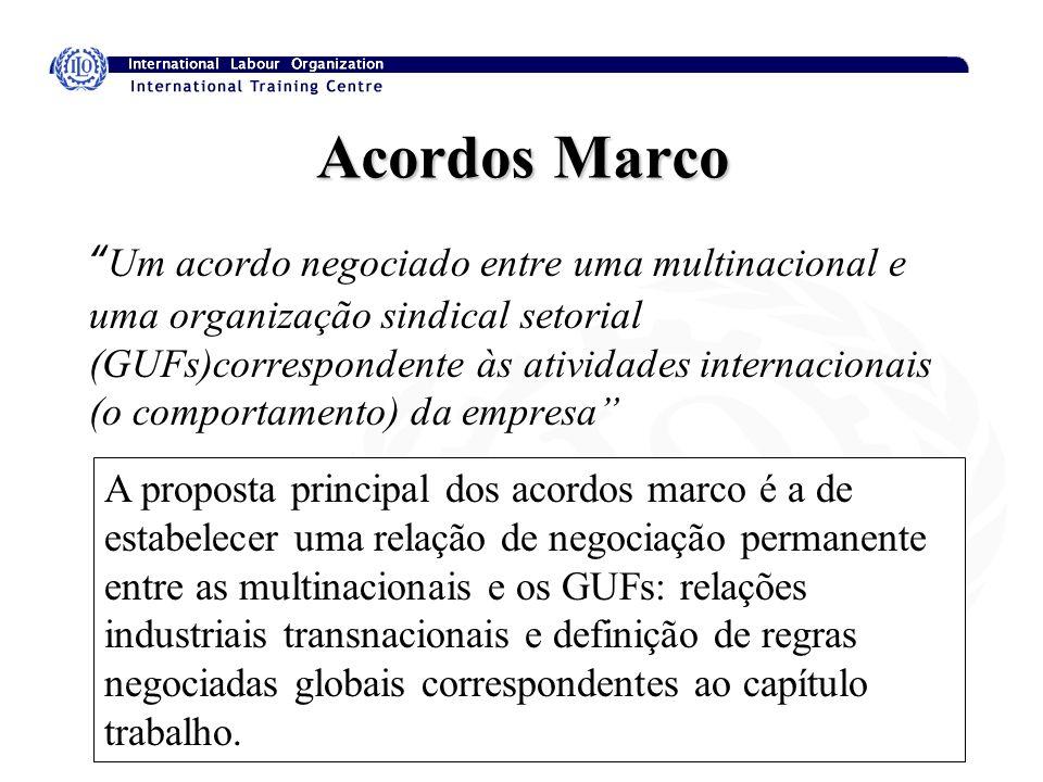 13 Acordos Marco Um acordo negociado entre uma multinacional e uma organização sindical setorial (GUFs)correspondente às atividades internacionais (o