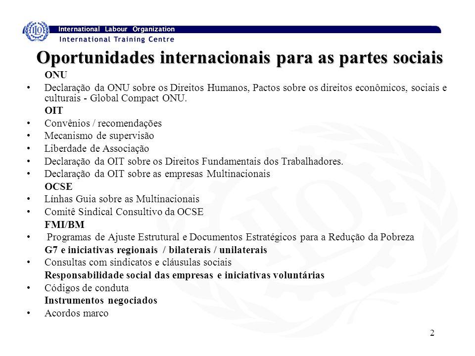 2 Oportunidades internacionais para as partes sociais ONU Declaração da ONU sobre os Direitos Humanos, Pactos sobre os direitos econômicos, sociais e culturais - Global Compact ONU.