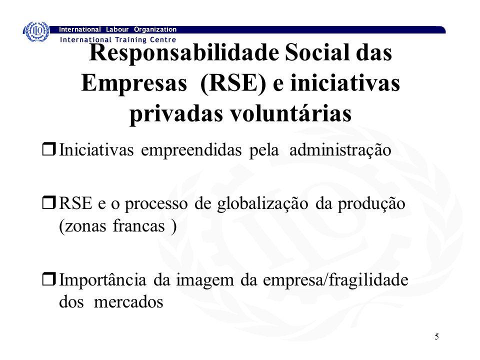 5 Responsabilidade Social das Empresas (RSE) e iniciativas privadas voluntárias rIniciativas empreendidas pela administração rRSE e o processo de globalização da produção (zonas francas ) rImportância da imagem da empresa/fragilidade dos mercados