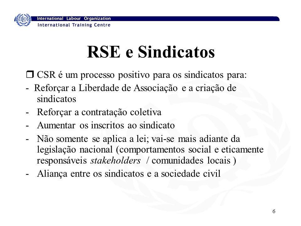 6 RSE e Sindicatos rCSR é um processo positivo para os sindicatos para: - Reforçar a Liberdade de Associação e a criação de sindicatos -Reforçar a contratação coletiva -Aumentar os inscritos ao sindicato -Não somente se aplica a lei; vai-se mais adiante da legislação nacional (comportamentos social e eticamente responsáveis stakeholders / comunidades locais ) -Aliança entre os sindicatos e a sociedade civil