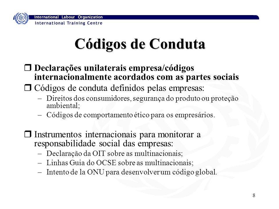 8 Códigos de Conduta rDeclarações unilaterais empresa/códigos internacionalmente acordados com as partes sociais rCódigos de conduta definidos pelas empresas: –Direitos dos consumidores, segurança do produto ou proteção ambiental; –Códigos de comportamento ético para os empresários.
